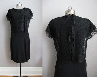 Vintage 1950s Dress Black Lace 50s Cocktail Dress Button Back / Small
