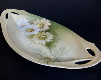 Antique RS Tillowitz Prussia Daisy Relish Side Porcelain Dish, Antique Relish Dish, Porcelain Antique