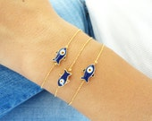Mother daughter matching fish evil eye bracelets - mom mommy  bracelet with ball chain gold plated mother birthday gift arabic turkish