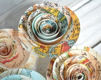 Map Paper Flowers Set of 25 travel theme wedding