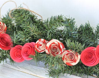 Red Christmas Garland, Paper Flower Garland, Holiday garland for fireplace