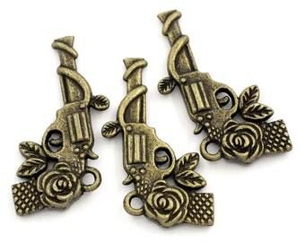 3 pieces Gun Revolver Antique Bronze Flower Pattern Charms