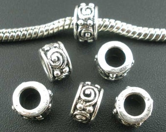 10 pieces Antique Silver Swirl Eye Tube European Spacer Beads