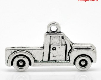 10 Pieces Antique Silver Pickup Truck Charms