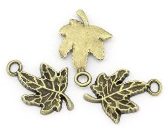 10 Pieces Antique Bronze Maple Leaf Charms
