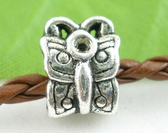 2 pieces Antique Silver Butterfly European Spacer Beads