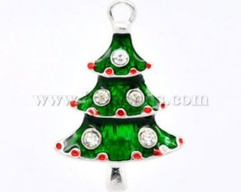 2 Pieces Silver Plated Rhinestone Enamel Christmas Tree Charms