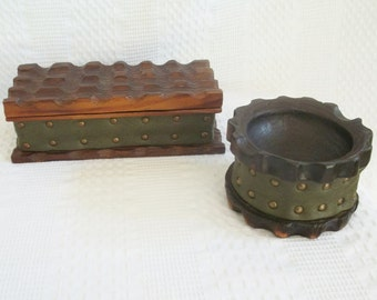 Wood box & matching ashtray, Set 2, hand carved wood jewelry or stash box, avocado green leather vinyl. Made in Spain, 1860 1970 storage