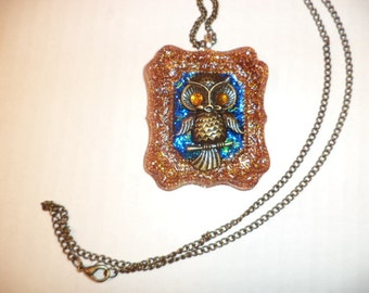 owl necklace,resin necklace,Halloween necklace, owl jewelry