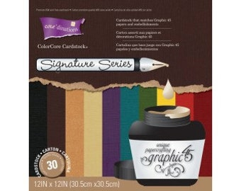 """GRAPHiC 45 SOLIDS -  CORE'DINATIONs  """" DARKS """" -12x12""""-  SOLiD CoRE CARDSToCK  to Go With GRAPHiC 45 PaPERS"""