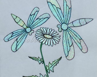 mylar Dragonflies applique embroidery