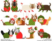 Christmas cat clip art for Personal and Commercial use - INSTANT DOWNLOAD