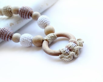 Beige Crochet Nursing Necklace with Ring for Mother and child - Natural Teething necklace with crochet beads - Nursing Breastfeeding Mommy