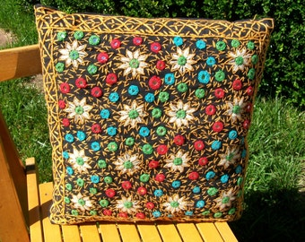 Colorful Indian Mirror Work Embroidered Pillow Boho Ethnic Decor