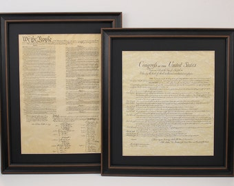 Framed Constitution and Bill of Rights Set with Black Matte. Free Shipping!