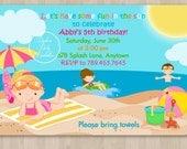 Beach Party Girl Birthday Invitation - DIY Custom Printable