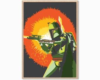 STAR WARS | Boba Fett Poster : Modern Movie Seventies Illustration Retro Art Wall Decor Print