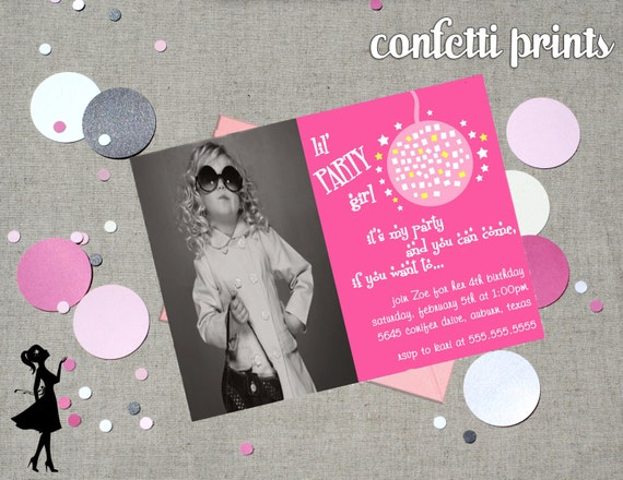 Birthday Invitation / Photo Card - LIL PARTY GIRL Printable