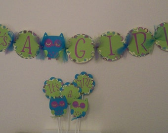 Owl Baby Shower Set -It's a Girl Baby Shower Set -  It's a Girl Owl Banner -  It's a Girl Owl Cake Topper Set