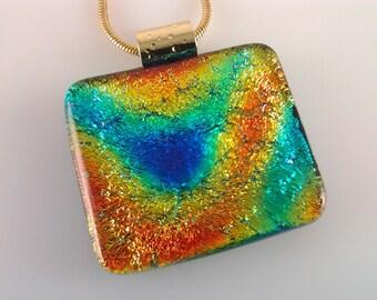 Dichroic Glass Pendant, Fused Glass Jewelry, Orange Blue Aqua Dichroic Necklace
