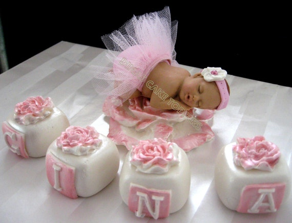 tutu baby cake topper baby shower 1st birthday princess pink tulle