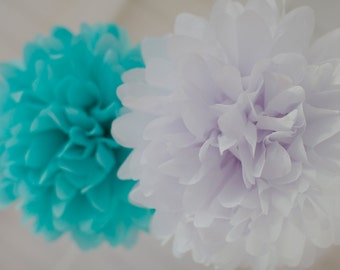 TIFFANY / 15 Tissue Paper Poms in Tiffany Blue & White / DIY Hanging Tissue / Bridal, Wedding or Baby shower / Table Centerpiece / Nursery