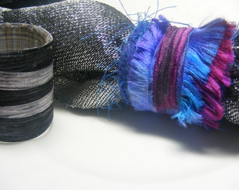 Scarf Slide Set of 2  Fiber Ring Scarf tie Pareo ring Scarf anchor Bright raspberry purple and Shades of Gray