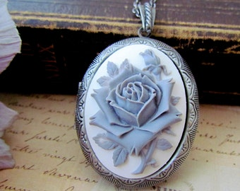 Large Grey Rose Cameo Locket Necklace, Vintage Inspired Long Chain Antique Silver Oval Rose Locket Necklace