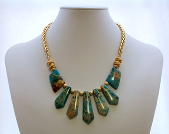 Necklace, Gemstone Jewelry, Jasper, Beaded, Blue, Gold Jewelry, Chain Jewelry, Matte Gold, Fashion Necklace, Jewellery