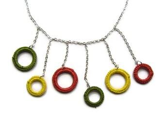 Statement Necklace, Geometric Necklace, Crochet Necklace, Crochet Circles, Asymmetric, Chain Necklace, Green Yellow Orange, Art Deco, OOAK