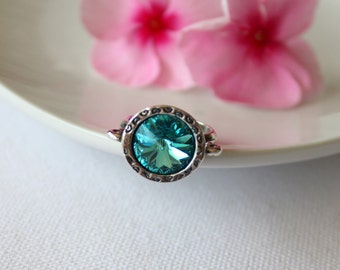 Turquoise Crystal Ring  - Adjustable Ring