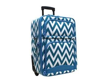 Monogramed Chevron Rolling Luggage
