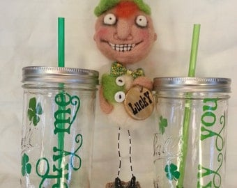 Two LUCKY Me LUCKY You Engagement Couple Mason Jar Drinks St. Patrick's Drinks with Clovers and Lime Green with BPA Free Straw