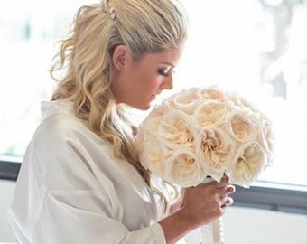 White Ivory Satin robe, Wedding robem Robe for bride, bridesmaids robes maid of honor spa robe beach getting ready robe wedding photography