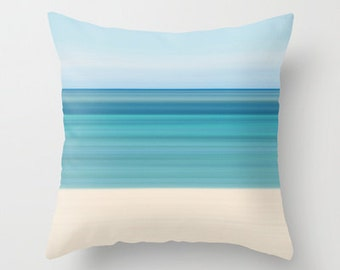 Coastal Decor Photography Pillow Beach Cottage Living Room Teal Aqua Beige Blue Nautical Stripes Preppy Tropical Home Abstract Photo Pillow