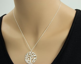 Large Tree of  Life  Necklace, -  Silver Bronze Plate,  Yoga Necklace,