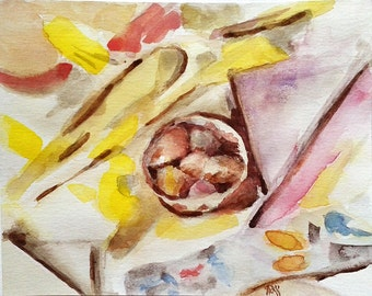 "Abstract watercolor painting, original. 'Shuffled Geometry'. Bowl with pebbles.  cca.5""x6"""
