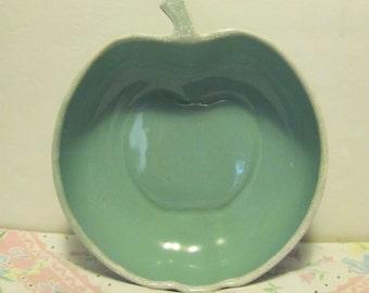 Aqua Drip Glaze Mid Century Apple Shaped Serving Salad Bowl