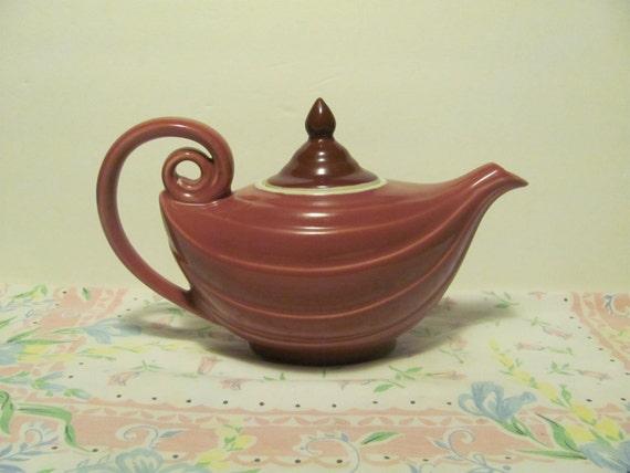 Vintage hall aladdin teapot pink mauve maroon rare color - Aladdin teapot ...