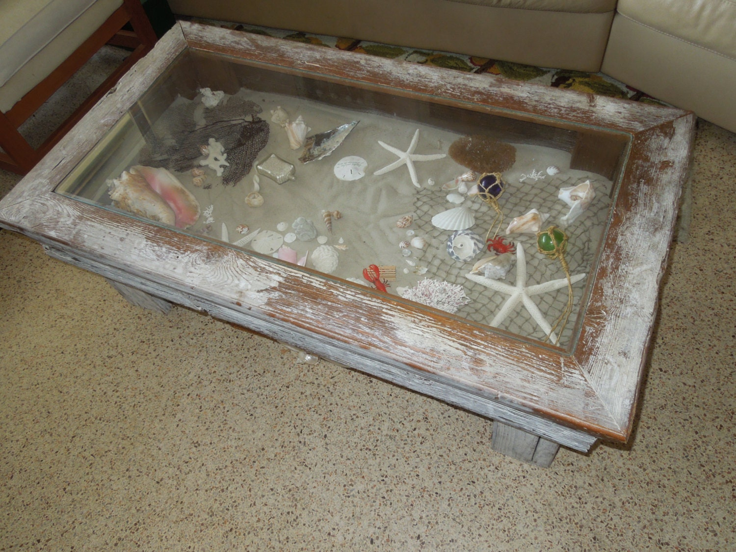 Coastal Coffee Table Shadow Box Style Green Life