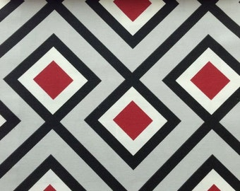 One Yard - Retro geometric pattern in grey with detail in red, black and white