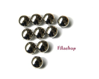 30% Off Clearance SALE: 6mm 100pcs Silver round studs / HIGH Quality - Fikashop