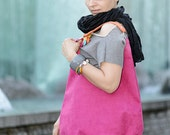 pink PLUS -  shoulder hobo bag, intensely colored tote bag - bandabag
