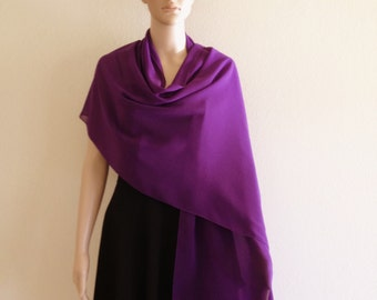 Purple Long Scarf. Purple Wrap Scarf. Chiffon Scarf. Soft Purple Shawl.