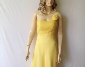 One Shouder Dress. Yellow Bridesmaid Dress