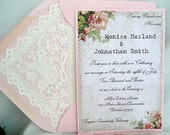 Wedding Invitation, Unique Blush Pink Layered with Vintage Rose Linen with Doily Paper Lace Envelope Shabby Chic Custom Any Color