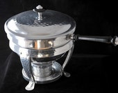 Hammered Aluminum Chafing Dish with Bowl and Saucepan Vintage 1960s