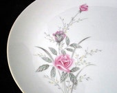 Fine China of Japan Golden Rose 14 Inch Platter with Pink Roses Mid Century Dinnerware Vintage 1960s