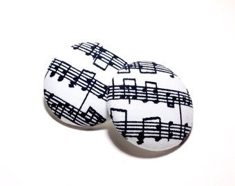 Oversized Musical Notes Print Button Earrings