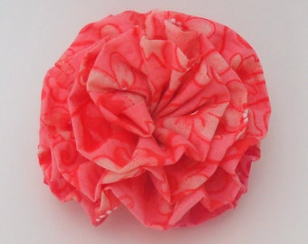 Pink and Orange Rose Fabric Flower Hair Barrette